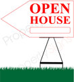 Open House LEFT Arrow Pointer Sign - White/Red