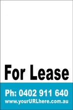 For Lease Sign No. 15 Customise your Ph & URL