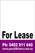 For Lease Sign No. 20 Customise your Ph & URL