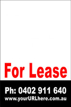 For Lease Sign No. 24 Customise your Ph & URL