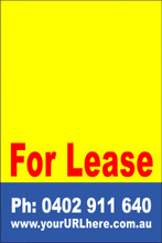 For Lease Sign No. 1 Customise your Ph & URL