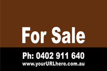 For Sale Sign No. 5 Landscape Customise your Ph & URL