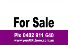 For Sale Sign No. 20 Landscape Customise your Ph & URL