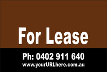 For Lease Sign No. 5 Landscape Customise your Ph & URL