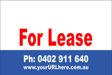 For Lease Sign No. 12 Landscape Customise your Ph & URL