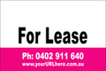 For Lease Sign No. 17 Landscape Customise your Ph & URL