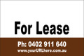 For Lease Sign No. 19 Landscape Customise your Ph & URL