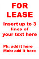 For Lease Sign No. E1 Customise your details