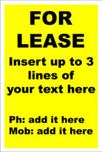 For Lease Sign No. F5 Customise your details