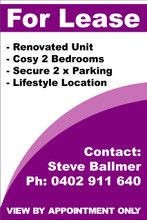 For Lease Sign No. G11 Customise your details