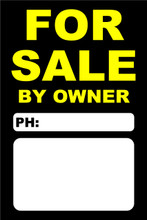 For Sale By Owner FSBO Sign No: 7- Black/Yellow