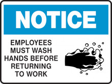 NOTICE - EMPLOYEES MUST WASH HANDS BEFORE RETURNING TO WORK