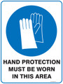 Mandatory Sign - HAND PROTECTION MUST BE WORN IN THIS AREA