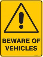 Warning  Sign - BEWARE OF VEHICLES