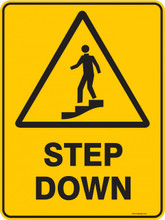 Warning  Sign - STEP DOWN