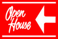 Open House Sign Red (Left Pointing Arrow)