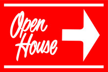 Open House Sign Red (Right Pointing Arrow)