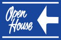 Open House Sign Blue (Left Pointing Arrow)