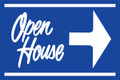 Open House Sign Blue (Right Pointing Arrow)