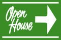 Open House Sign Green (Right Pointing Arrow)