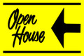 Open House Sign Yellow/Black (Left Pointing Arrow)