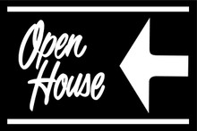 Open House Sign Black (Left Pointing Arrow)