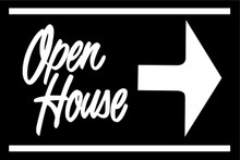 Open House Sign Black (Right Pointing Arrow)