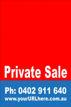 Private Sale Sign No: 2 - Red Customise your own Phone & URL