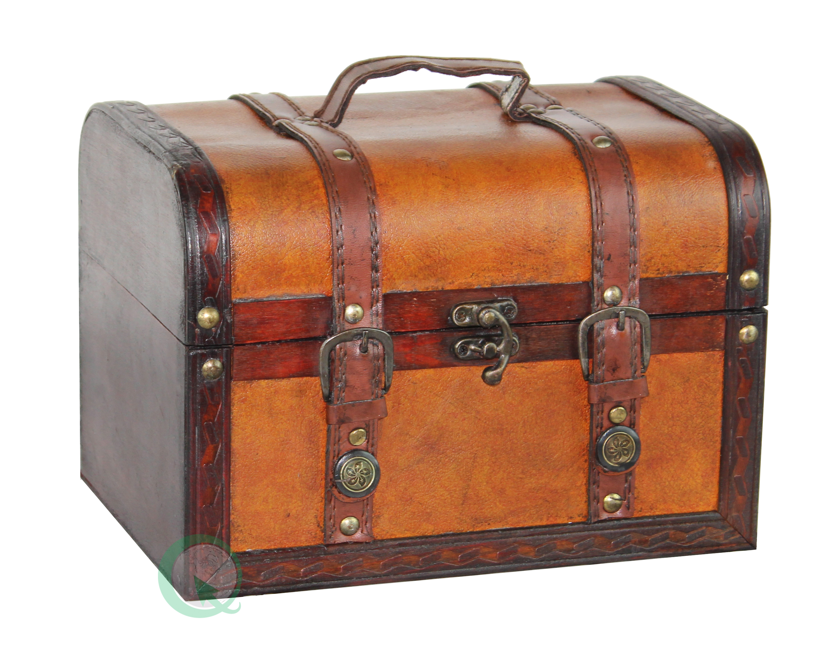 Decorative wood leather treasure box small trunk chest ebay
