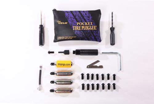 Pocket Tire Plugger CO2 Inflation - tire plug kit