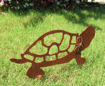 Turtle Metal Garden Stake - Metal Yard Art - Metal Garden Art - Rustic - Rusty