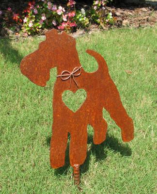 Wire Fox Terrier Dog Metal Garden Stake - Metal Yard Art - Metal Garden Art - Pet Memorial