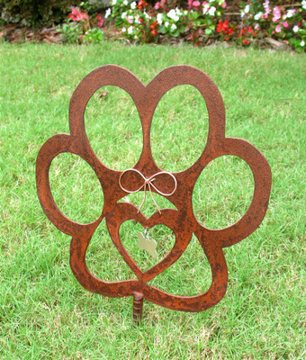 Dog Paw Pet Memorial Garden Stake - Metal Yard Art - Metal Garden Art - Rusty - Rustic