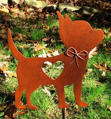 Chihuahua 2 Dog Metal Garden Stake - Metal Yard Art - Metal Garden Art - Pet Memorial