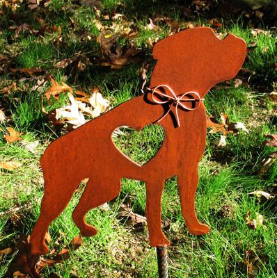 Boxer Dog Metal Garden Stake - Metal Yard Art - Metal Garden Art - Pet Memorial - Design 3