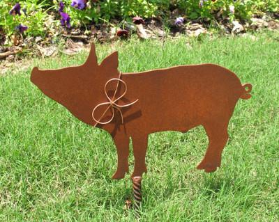Pig Metal Garden Stake - Metal Yard Art - Metal Garden Art - Rustic - Rusty