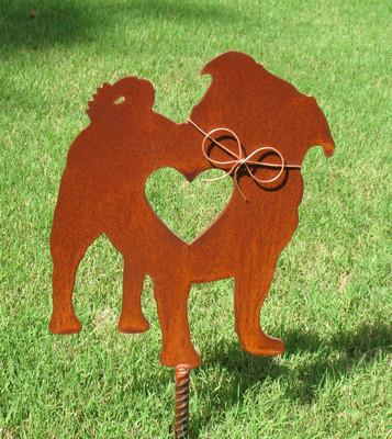 Pug Dog Metal Garden Stake - Metal Yard Art - Metal Garden Art - Pet Memorial 2