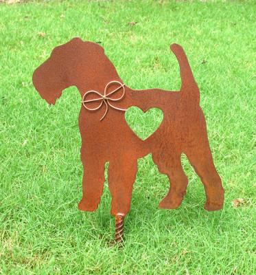 Airedale Terrier Dog Metal Garden Stake - Metal Yard Art - Metal Garden Art - Pet Memorial