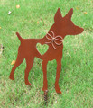 Rat Terrier Dog Metal Garden Stake - Metal Yard Art - Metal Garden Art - Pet Memorial