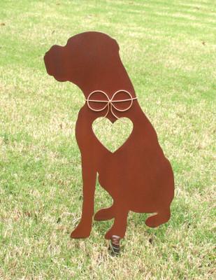 Boxer Dog Metal Garden Stake - Metal Yard Art - Metal Garden Art - Pet Memorial - Design 4