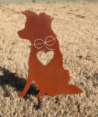 Border Collie Dog Metal Garden Stake - Metal Yard Art - Metal Garden Art - Pet Memorial 2