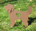 Painted Labradoodle Goldendoodle Dog Metal Garden Stake - Metal Yard Art - Metal Garden Art - Pet Memorial - 1