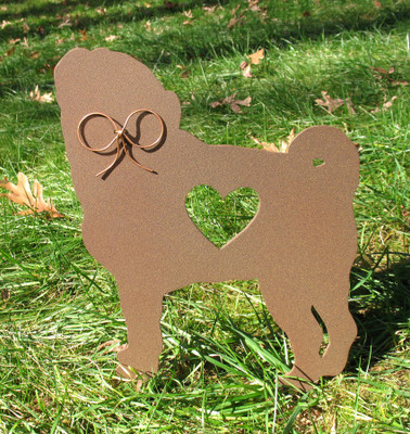 Painted Pug Dog Metal Garden Stake - Metal Yard Art - Metal Garden Art - Pet Memorial - 1