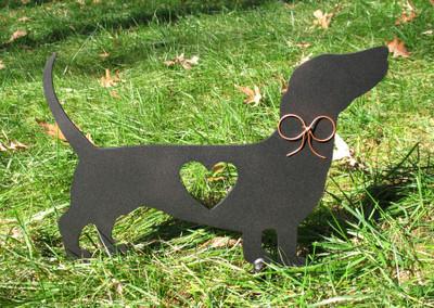 Painted Dachshund Dog Metal Garden Stake - Metal Yard Art - Metal Garden Art - Pet Memorial - 1