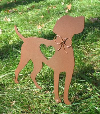 Painted Vizsla Dog Metal Garden Stake - Metal Yard Art - Metal Garden Art - Pet Memorial - 1