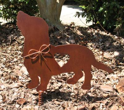 Basset Hound Dog Metal Garden Stake - Metal Yard Art - Metal Garden Art - Pet Memorial