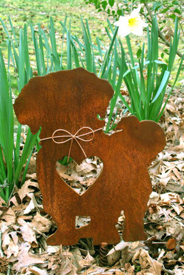 Shih Tzu Dog Metal Garden Stake - Metal Yard Art - Metal Garden Art - Pet Memorial