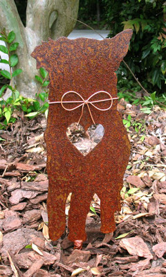 Australian Shepherd Dog Metal Garden Stake - Metal Yard Art - Metal Garden Art - Pet Memorial