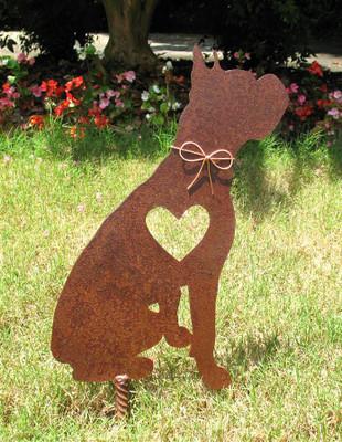 Boxer dog pet memorial metal garden stake 2