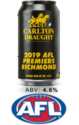 Carlton Draught Limited Edition 2019 AFL Premiers Richmond Tiger Cans - 6 Pack